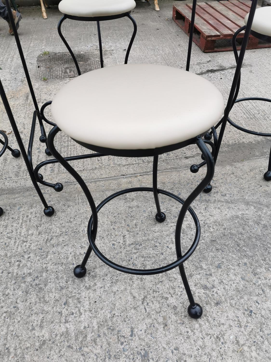 Wrought iron high garden table and four stools. - Image 3 of 3