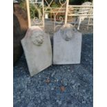 Pair of composition wall sundials