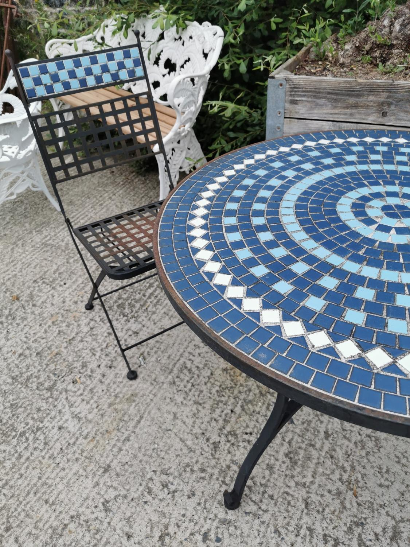 Wrought iron and mosaic three piece garden set. - Image 2 of 4