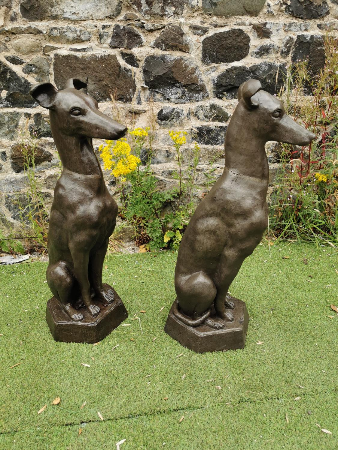 Pair of cast iron seated Whippets. - Image 3 of 3