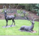 Pair of cast iron models of Stags