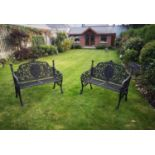 Pair of decorative cast iron garden seats