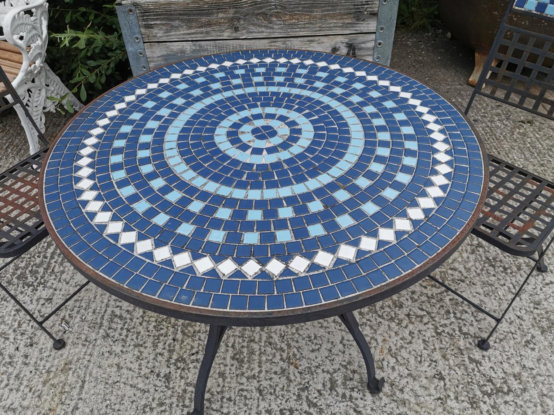 Wrought iron and mosaic three piece garden set. - Image 3 of 4