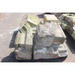 Pallet of seven sandstone pillar corbels