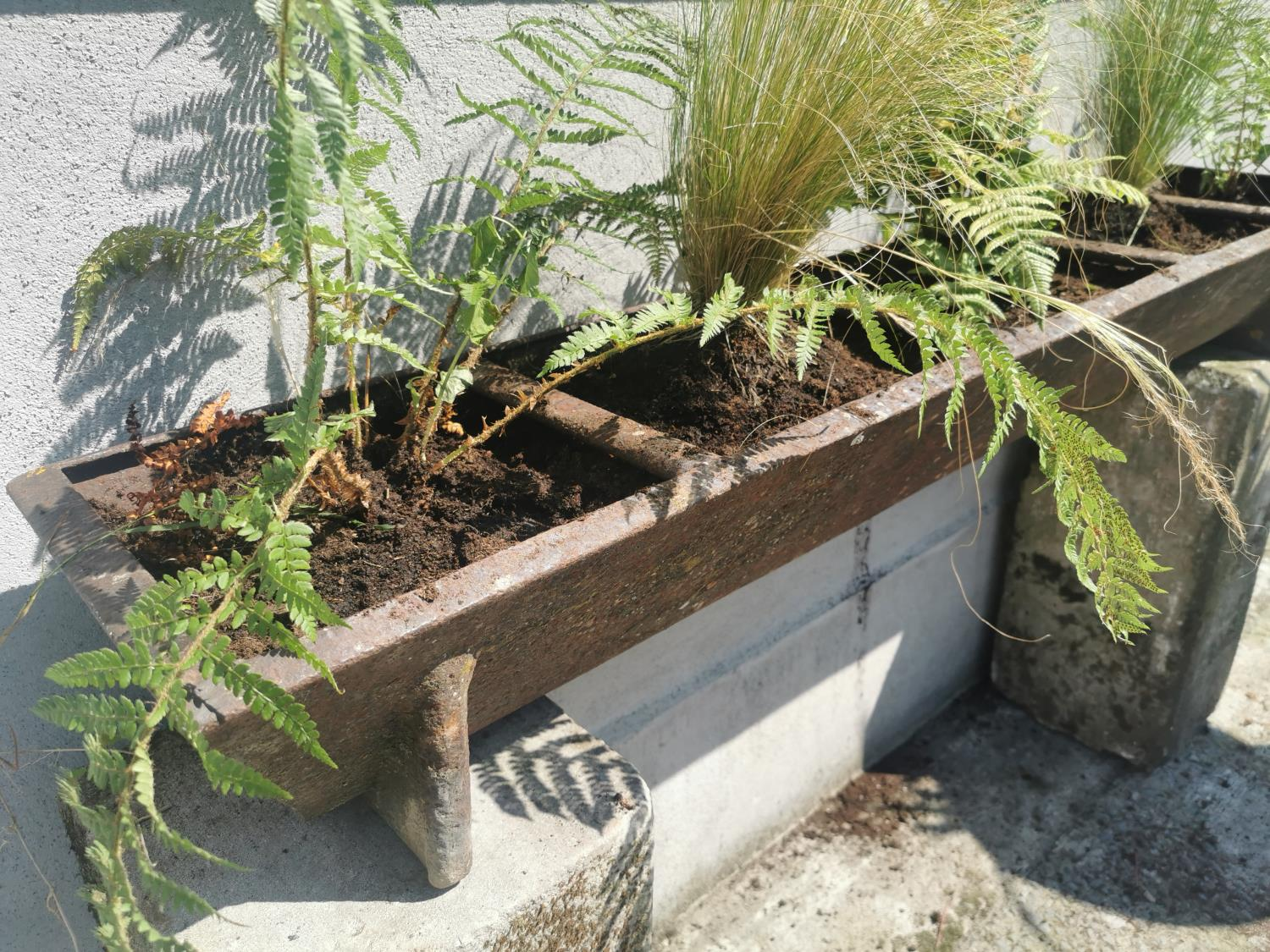Early 20th C cast iron pig feeder/planter. - Image 2 of 4
