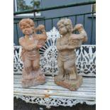Pair of 19th. C. terracotta cherubs