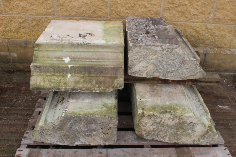 Three pallets of moulded sandstone lintels