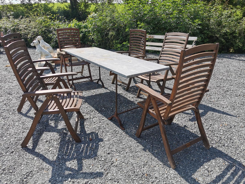 Set of six teak reclining garden chairs
