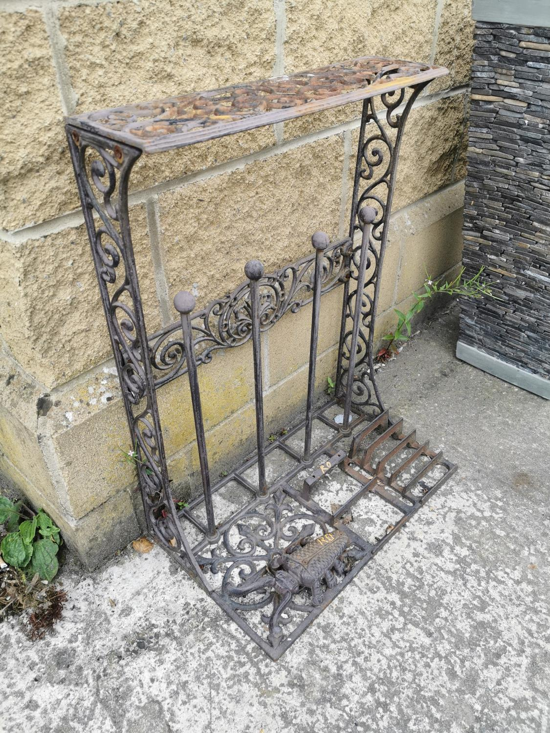 Decorative cast iron boot rack and foot scrapper. - Image 2 of 2