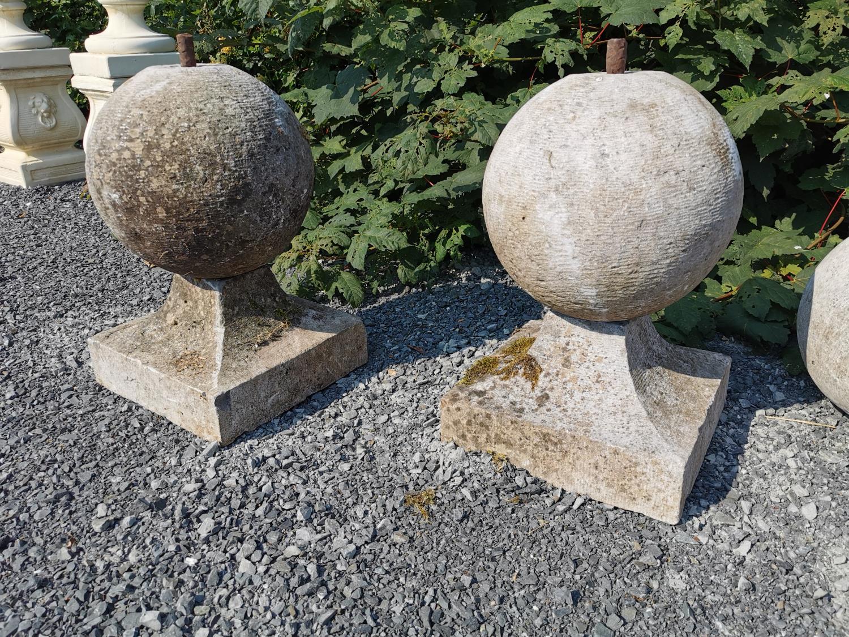 Pair of 18th C. limestone pier caps