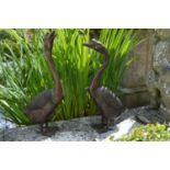 Pair of bronze models of Geese