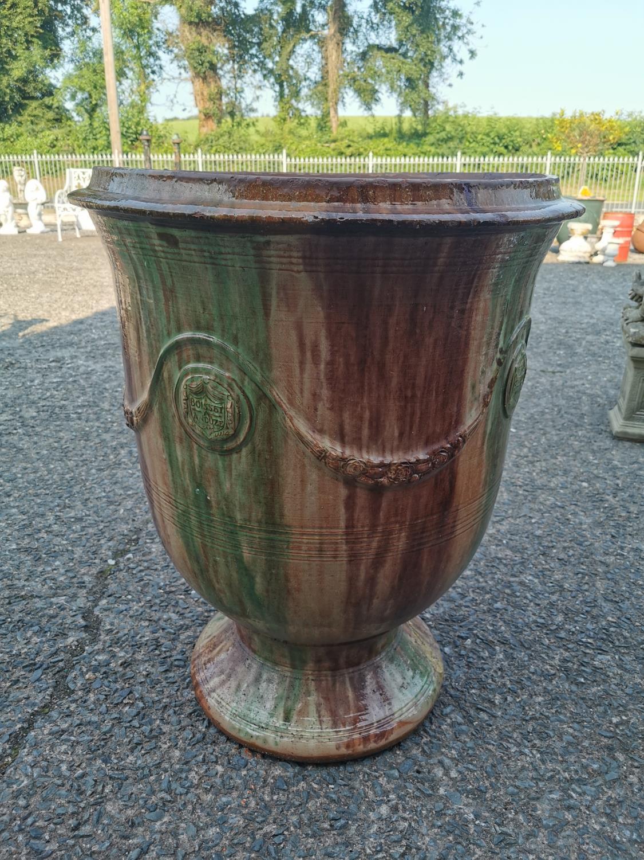 Glazed terracotta urn