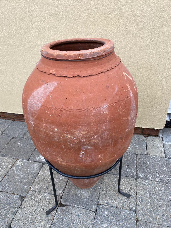 19th C. terracotta Turkish olive pot. - Image 2 of 3