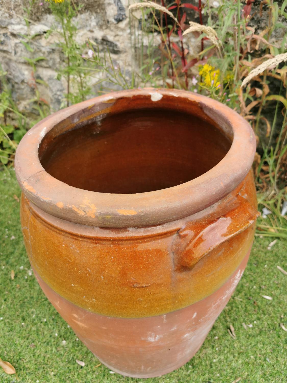 Early 20th C. glazed terracotta jar. - Image 2 of 2