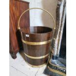 Pair of brass bound chestnut wood log buckets.