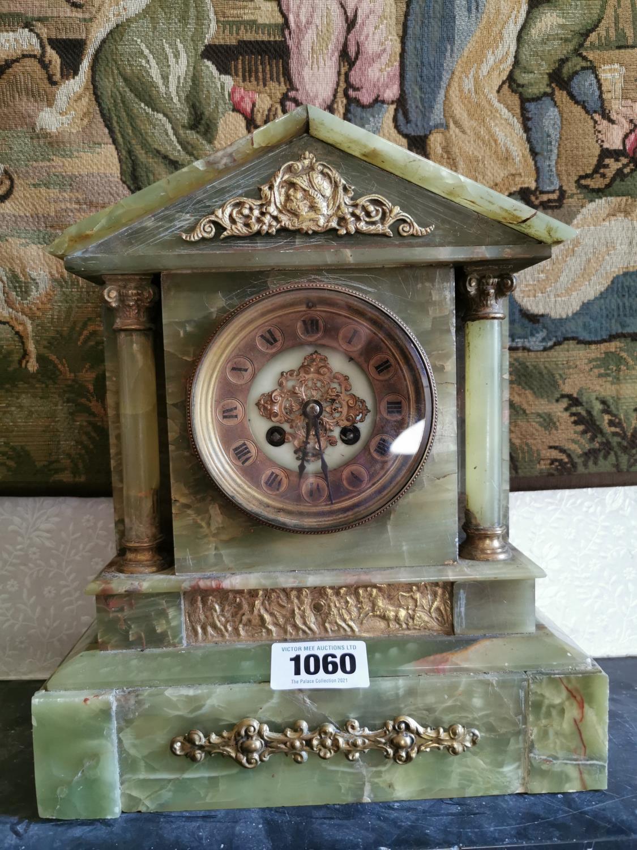 Late 19th C. onyx clock garniture set. - Image 2 of 2