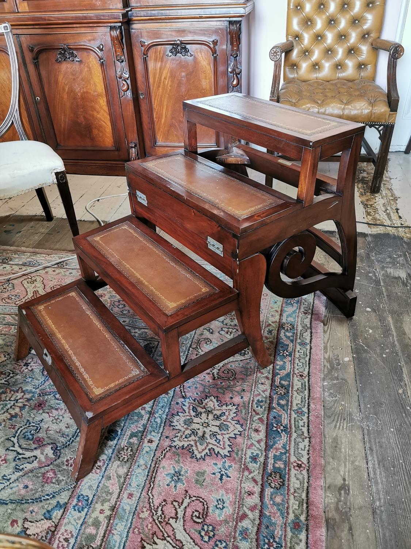 Mahogany metamorphic library chair. - Image 2 of 3