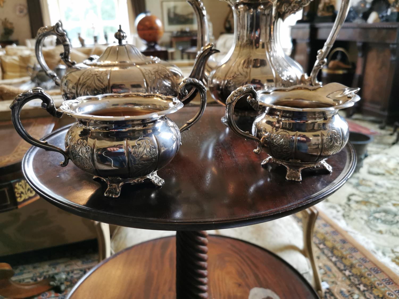 English silver four piece tea set - Image 4 of 4