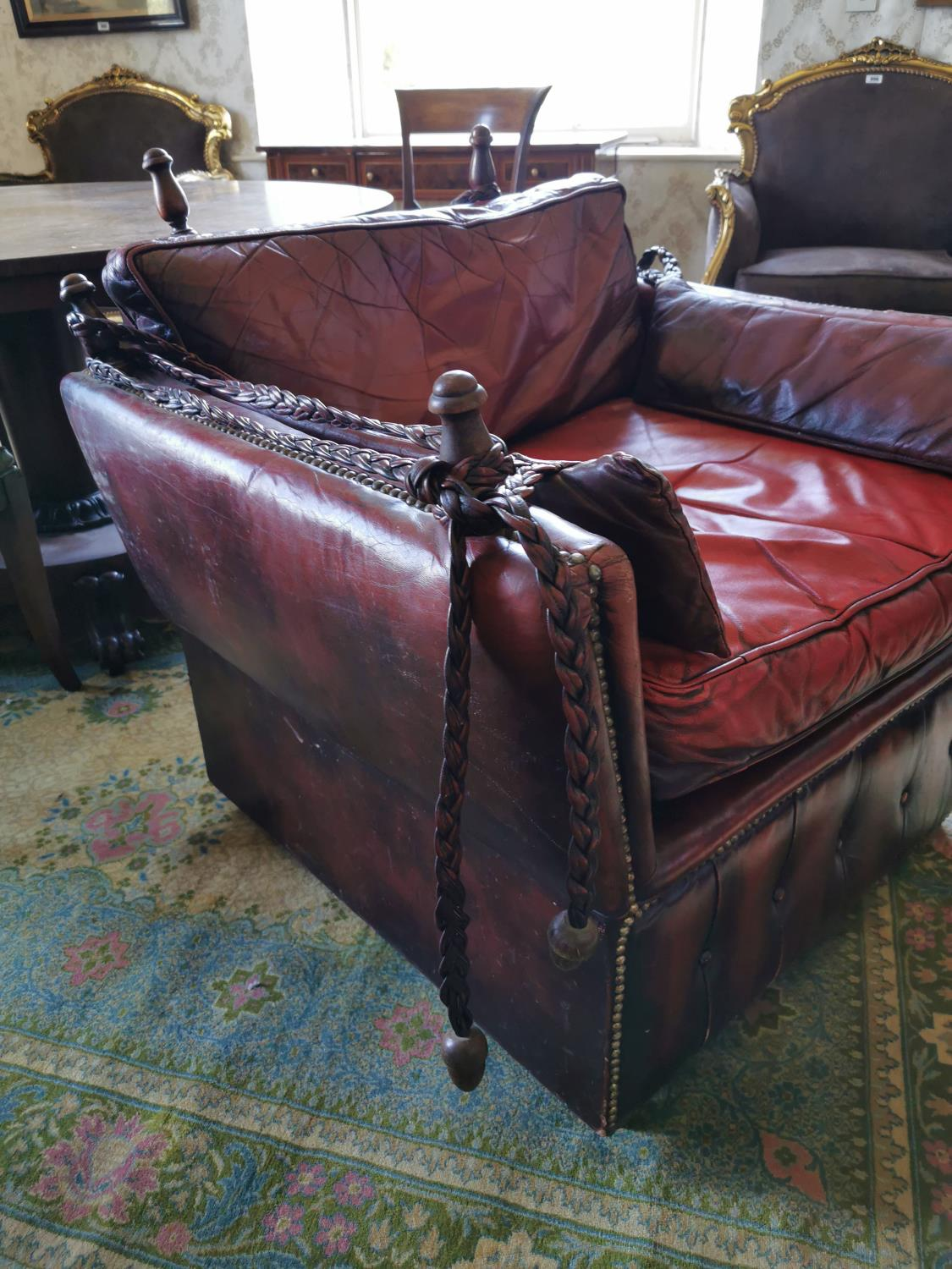 Pair of unusual ox blood leather club chairs. - Image 2 of 5