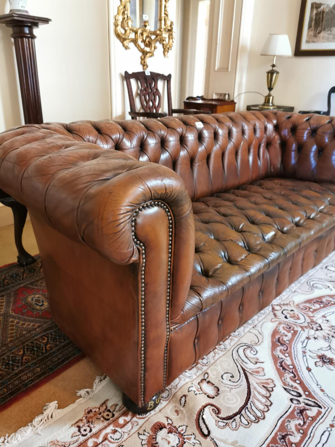 Hand dyed leather Chesterfield sofa. - Image 4 of 4