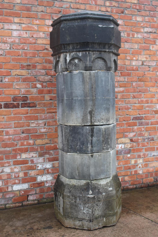 Pair of 19th C. limestone pillars. - Image 3 of 6