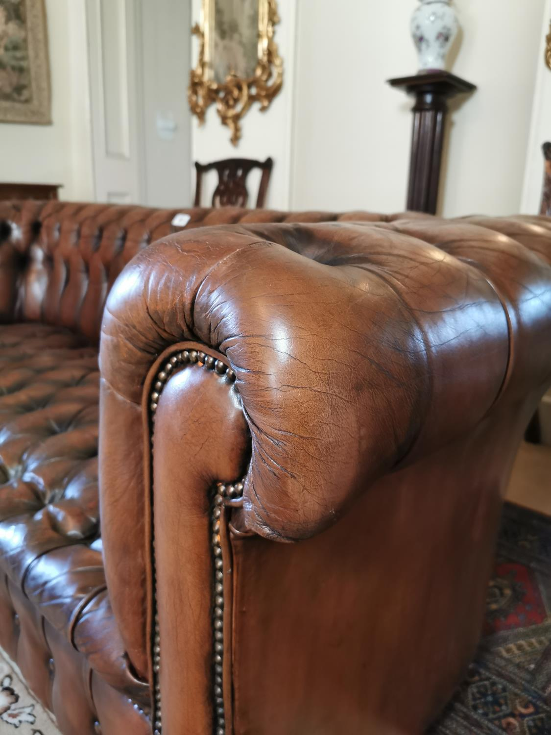 Hand dyed leather Chesterfield sofa. - Image 3 of 4