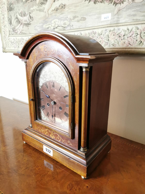 Edwardian inlaid mahogany bracket clock. - Image 2 of 3