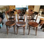 Set of six early 20th C. bentwood chairs.