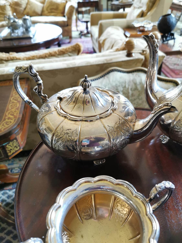 English silver four piece tea set - Image 3 of 4