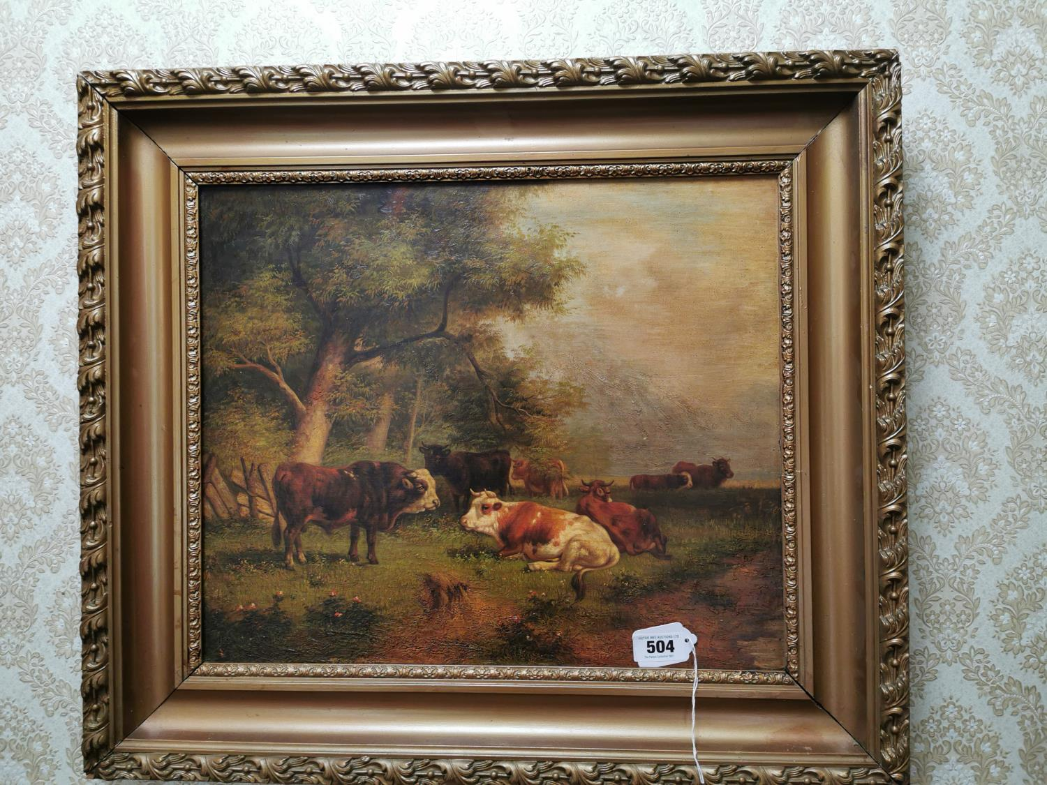 19th. C. Oil on Board Cattle Resting