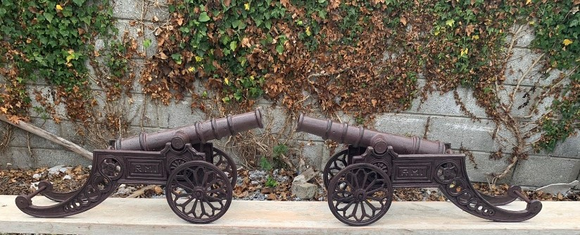 Pair of cast iron cannons