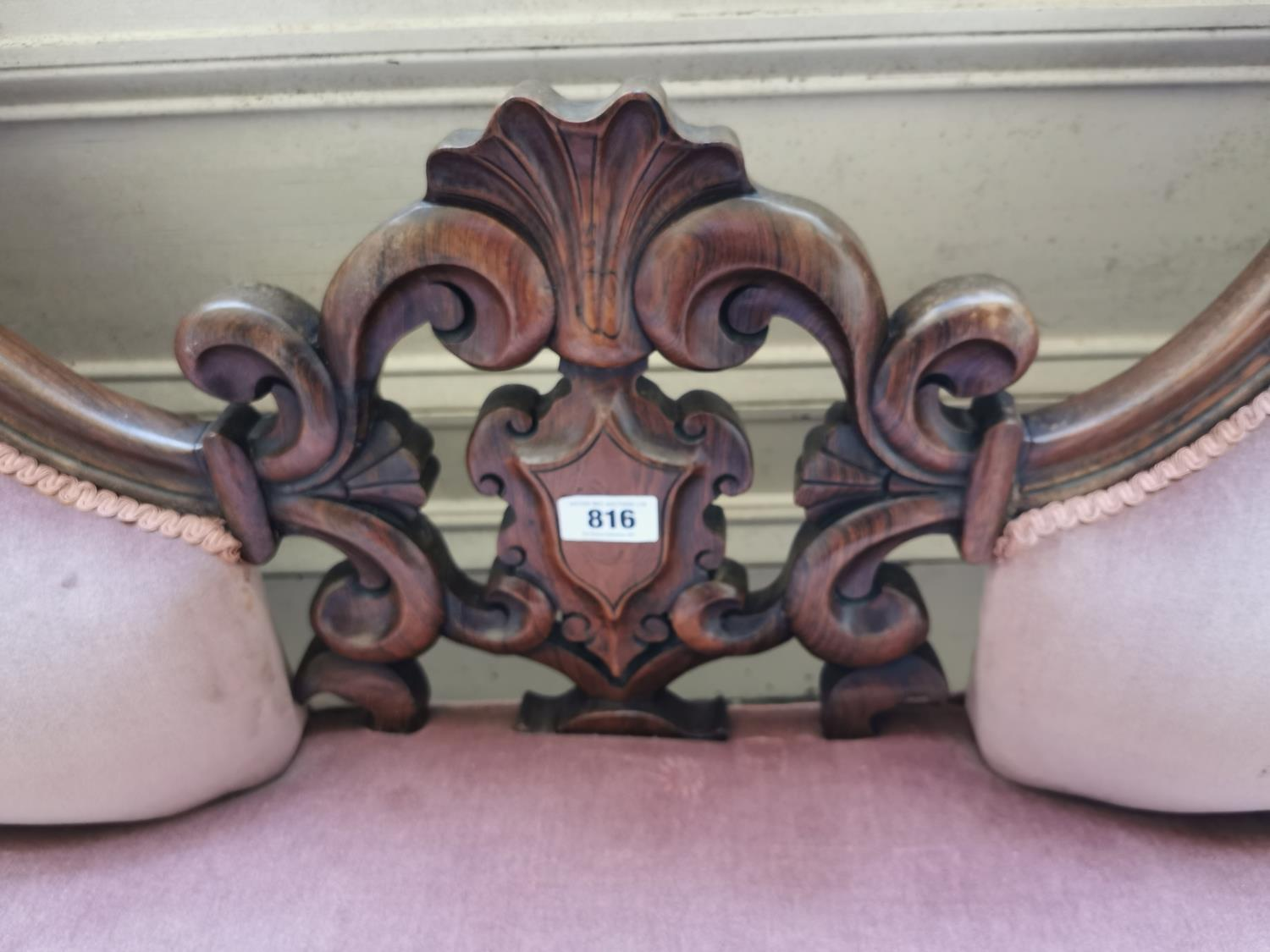 19th C. rosewood and upholstered chaise longue. - Image 3 of 3