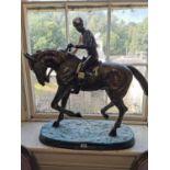 Hand cast bronze model of Horse and Jockey.