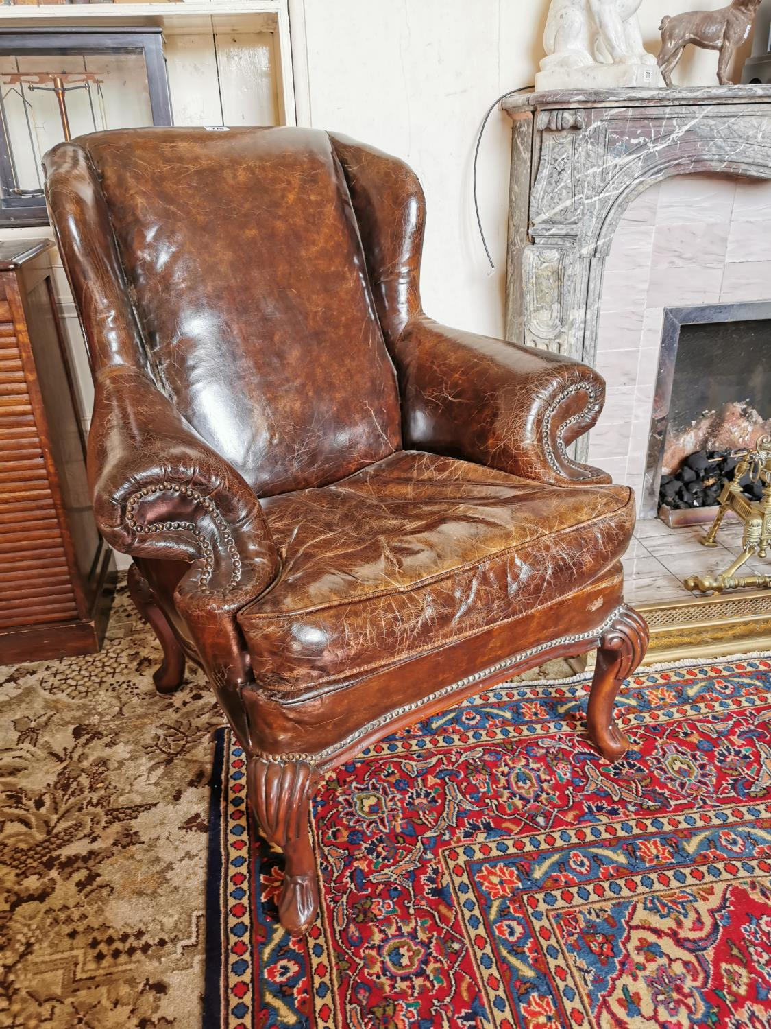Superior quality pair of leather upholstered wing backed armchairs - Image 2 of 3