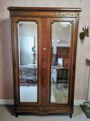 Edwardian inlaid mahogany and kingwood wardrobe.