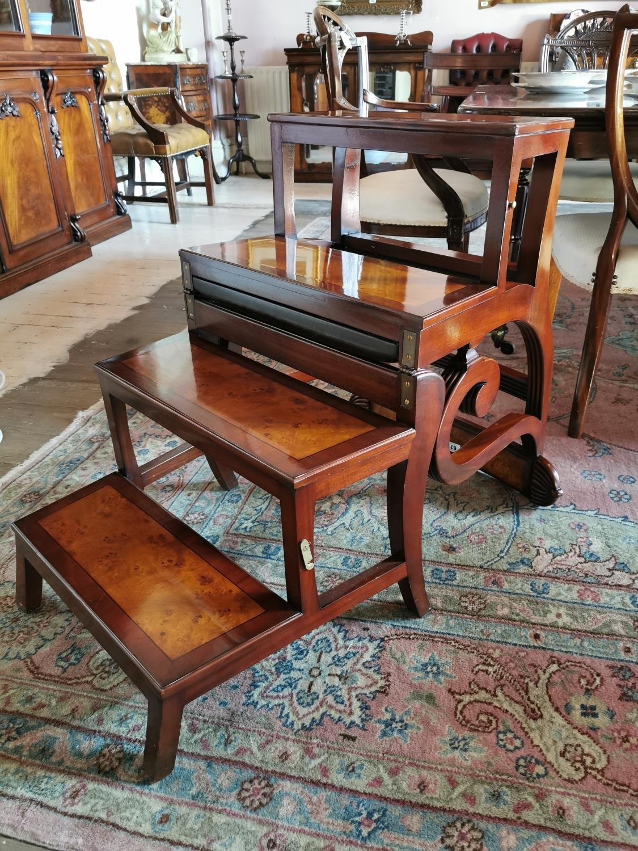 Mahogany metamorphic library chair. - Image 3 of 4