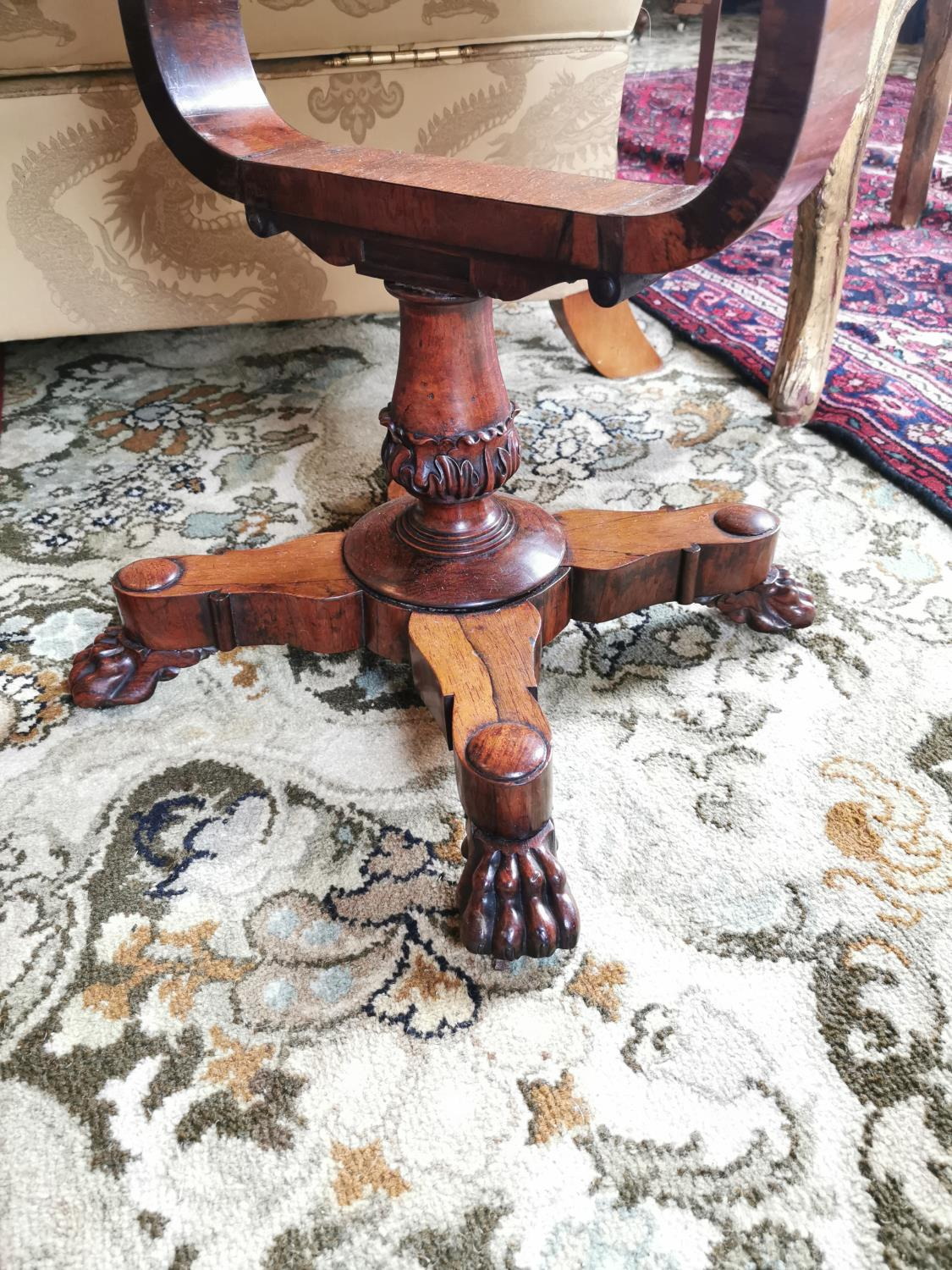 19th C. rosewood lamp table. - Image 2 of 4