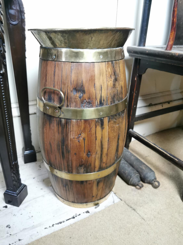 19th. C. brass bound oak stick stand. - Image 2 of 2