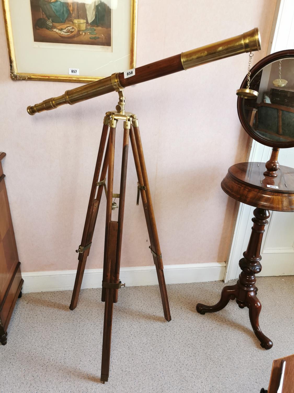 Brass and mahogany telescope