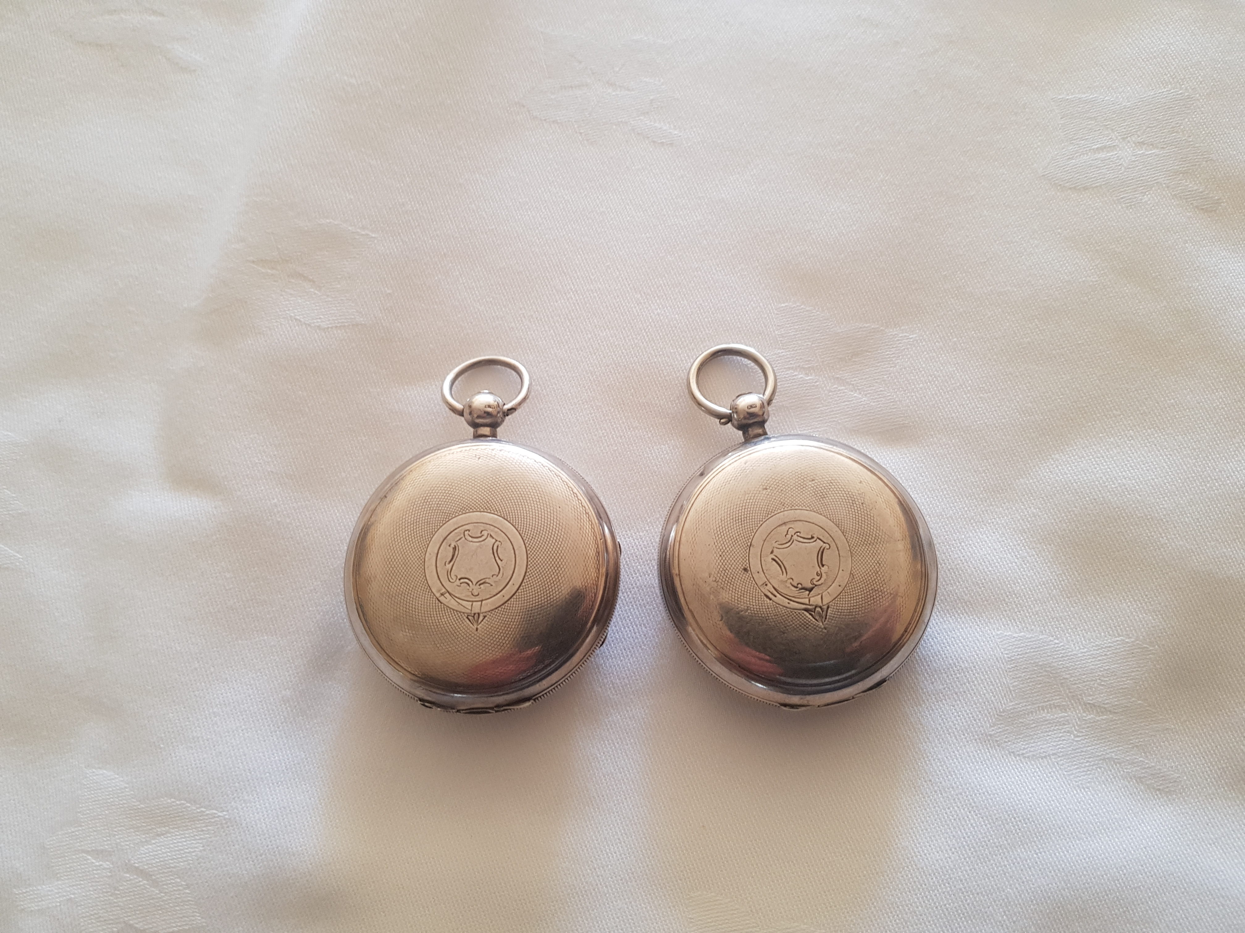 Pair of 19th. C. silver fob watches - Image 2 of 2