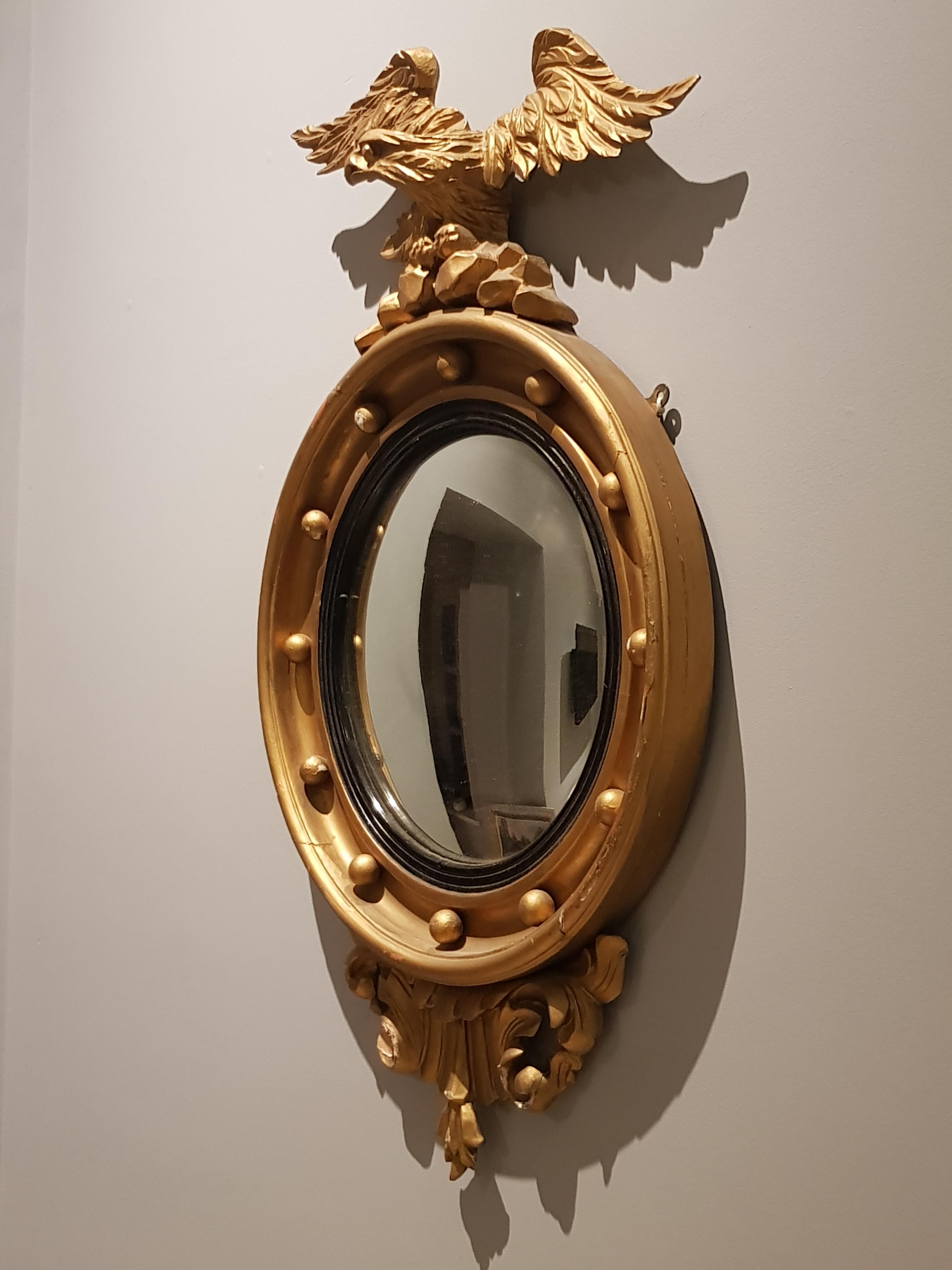 Fine pair of Irish early 19th Century Gilt Convex Mirrors - Image 2 of 2