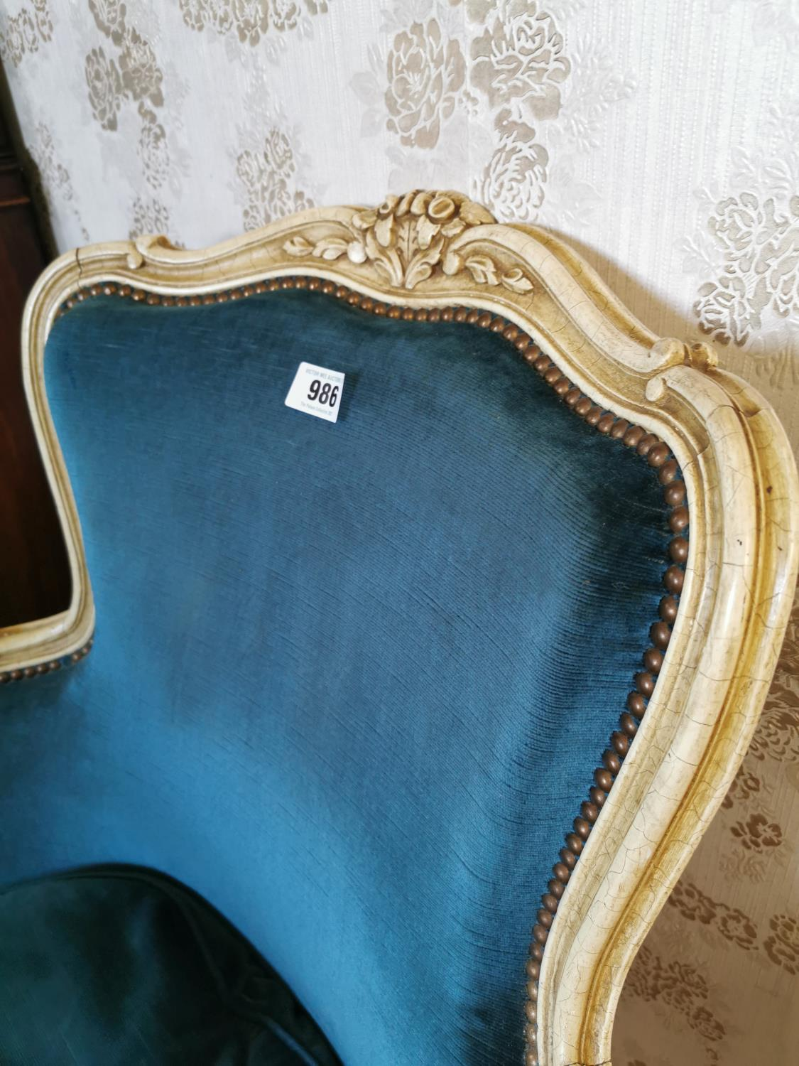 French painted pine and upholstered arm chair. - Image 2 of 2
