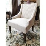 Edwardian upholstered walnut armchair