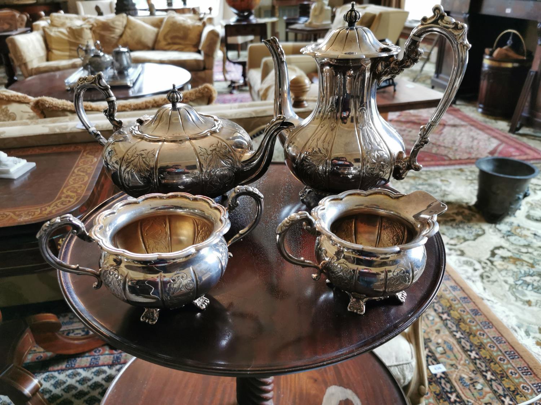 English silver four piece tea set