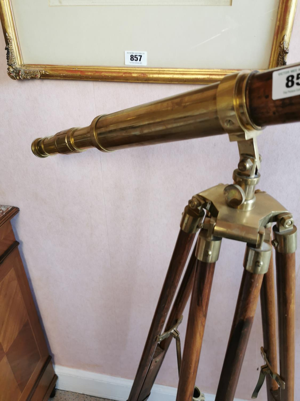 Brass and mahogany telescope - Image 2 of 4