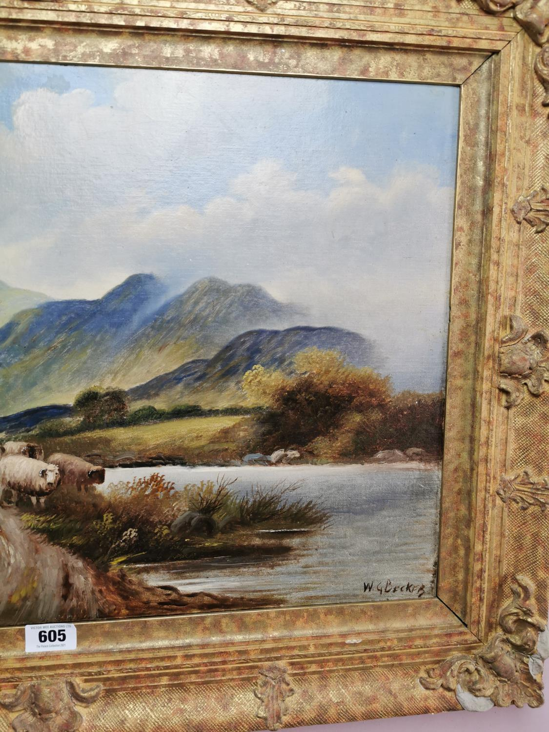 19th C. oil on canvas Mountain and Sheep scene. - Image 2 of 3