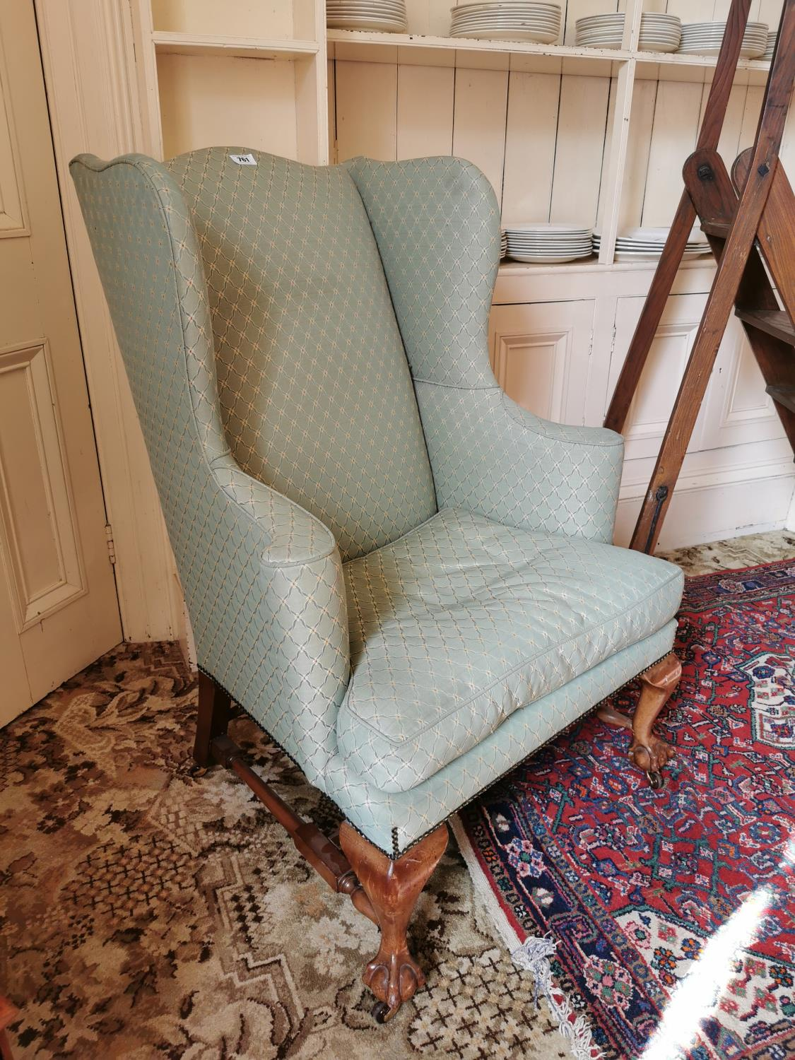 19th. C. upholstered wing backed armchair