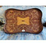 Edwardian mahogany butlers' tray.
