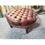 Hand dyed leather Chesterfield foot stool.