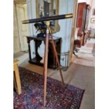 19th. C. brass and leather telescope